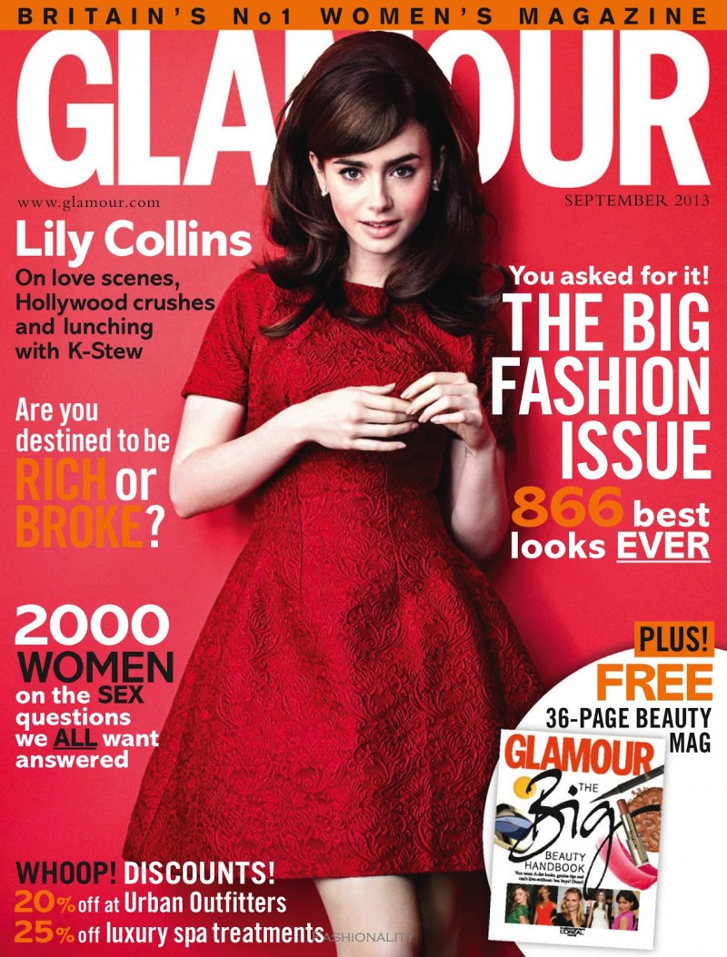 "莉莉的日常生活 ""Here's Looking At Lily"" Lily Collins 《Glamour》英国版2013年9月刊封面大片"