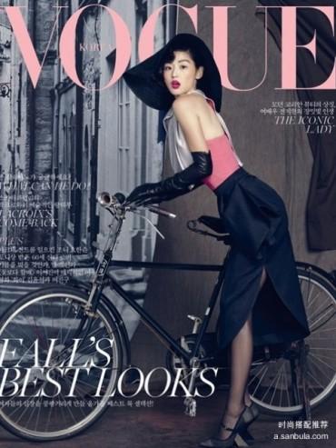全智贤《Vogue》时尚大片化身贵妇 红唇黑丝显诱惑