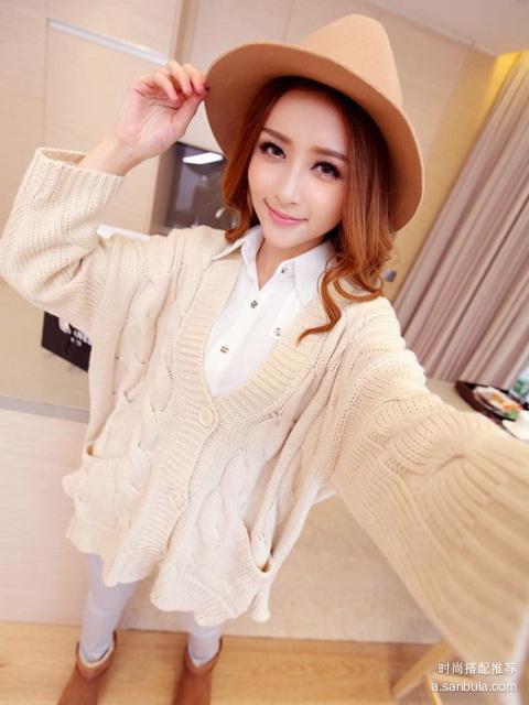 秋日出游清新搭配:宽松针织开衫+波点长袖衬衫+毛呢帽