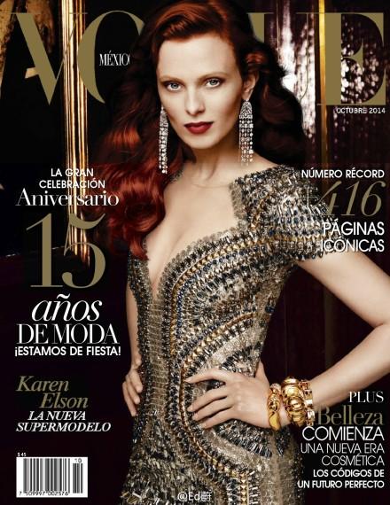 超模Karen Elson为墨西哥Vogue拍摄10月封面大片